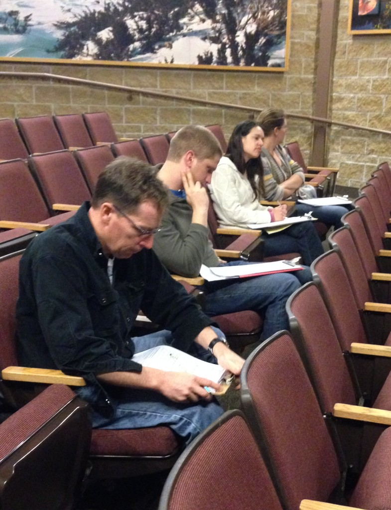 """Envirothon judges receive presentations related to this year's special topic: """"local sustainable agriculture""""."""